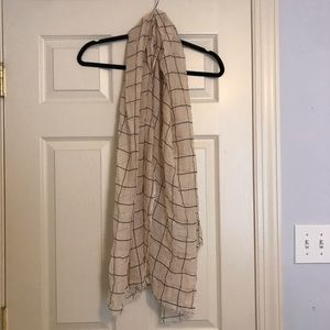 NEW Rachel Pally Grid Scarf- Cream and Black